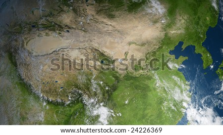 earth globe / satellite view to china and the koreas (detailed 3d rendering with relief mountains, clouds and sea floor structure derived from public domain nasa imagery) - stock photo