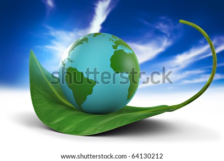 Earth globe standing on a green leaf, nature preservation concept - stock photo