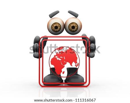 Earth globe symbol on a white background - stock photo