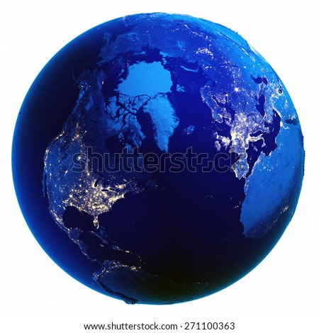 Earth globe white isolated. Elements of this image furnished by NASA - stock photo