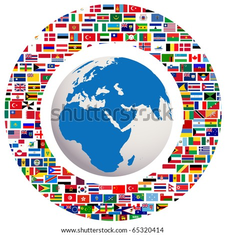 Earth globe with all flags - stock photo