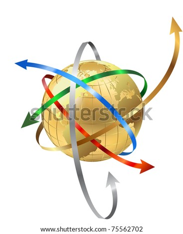 Earth globe with arrows - stock photo