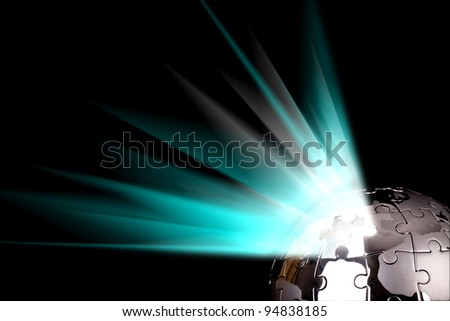 Earth globe with blue bursting out - stock photo