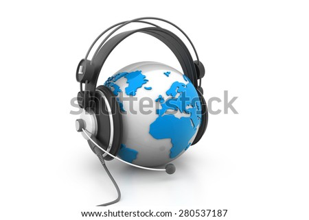 Earth globe with headphones, best concept of Concept for help desk  - stock photo