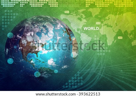Earth globe with world map - stock photo