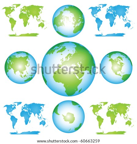Earth Globes and Maps - stock photo