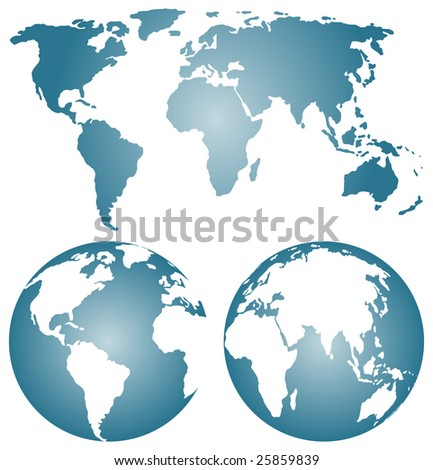 Earth globes over continents - rastered image. Vector format in EPS is also available in my gallery. - stock photo
