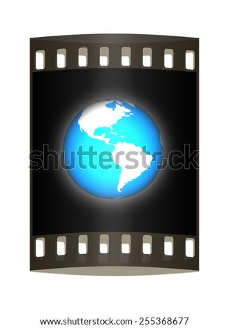 Earth glow on a white background. The film strip - stock photo