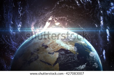 Earth - High resolution 3D images presents planets of the solar system. This image elements furnished by NASA. - stock photo
