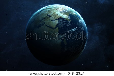 Earth - High resolution images presents planets of the solar system on chalkboard. This image elements furnished by NASA - stock photo