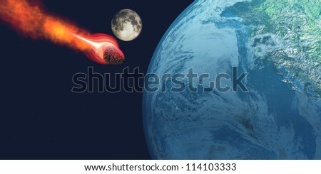 Earth Hit by Asteroid - The Earth is about to be hit by an unknown white hot asteroid. - stock photo