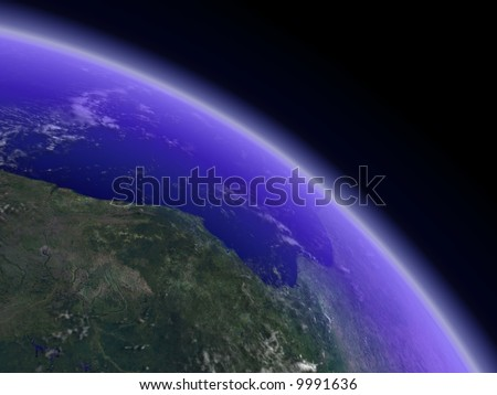 Earth horizon with visible cloud shadows. Render. - stock photo