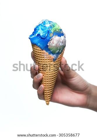 Earth ice cream melting - stock photo