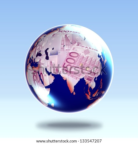 Earth icon made with euro. Derived from NASA image. - stock photo