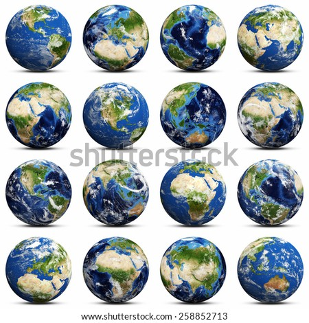 Earth icons set. Elements of this image furnished by NASA - stock photo