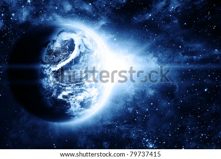 earth in beautiful space - stock photo