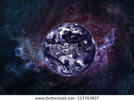 Earth in beautiful space. Elements of this image furnished by NASA - stock photo