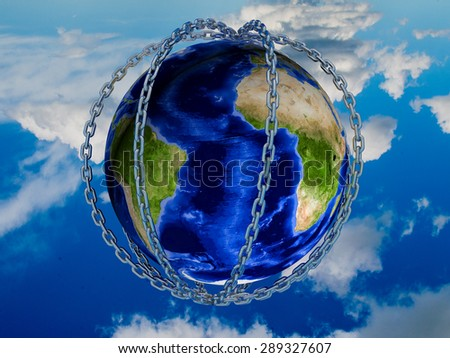 Earth in silver chains against the sky - stock photo
