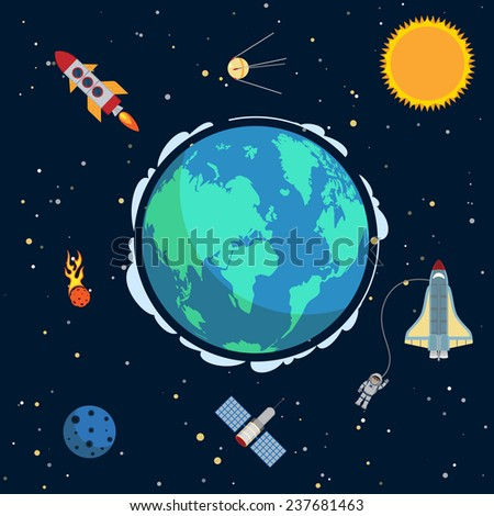 Earth in space poster with globe and spacecrafts and  satellites on orbit  illustration - stock photo
