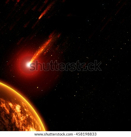 Earth in space with a flying asteroid, abstract background - stock photo