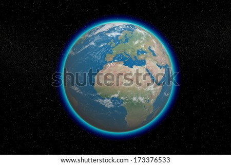 Earth in starfield with blue glowing. Elements of this image furnished by NASA  - stock photo
