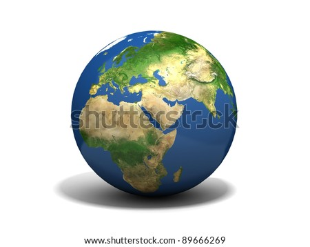 earth isolated in white background - stock photo
