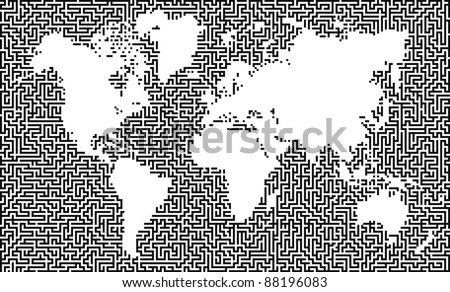 Earth maze map:raster version - stock photo