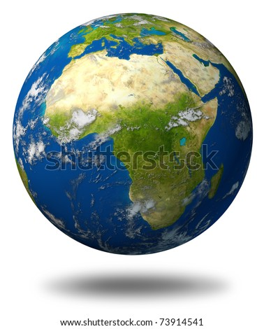 Earth model planet featuring Africa and middle eastern countries surrounded by blue ocean and clouds isolated on white. - stock photo