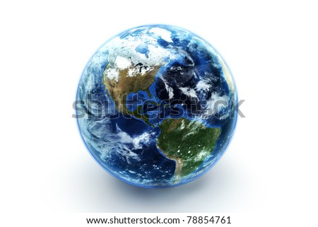Earth model with atmospheric effects , textures are from www.NASA.gov - stock photo