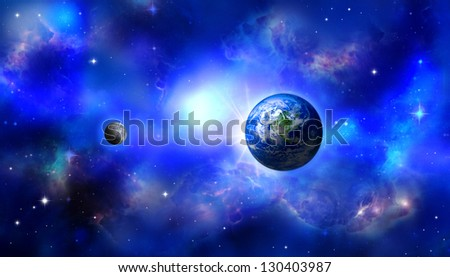 Earth moon / Earth world / Moon space / Earth space / Earth eclipse - stock photo