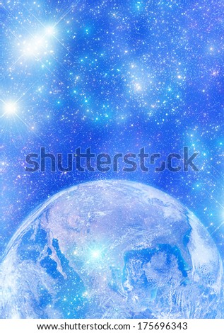 Earth (North, Central and South America side) surrounded by stars. Earth disk furnished by NASA/JPL. - stock photo