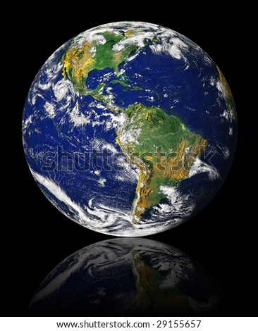 earth on a black background with reflection - stock photo