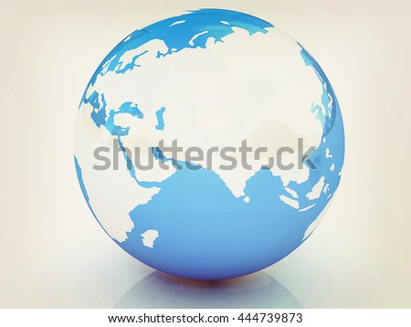 Earth on a white background. 3D illustration. Vintage style. - stock photo