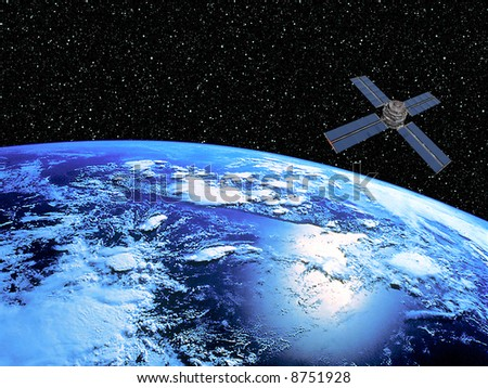Earth on starscape background and satellite in orbit. - stock photo