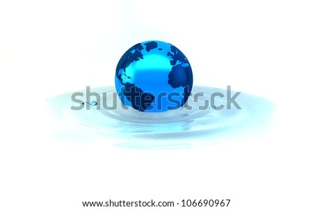earth on waterrimple - stock photo