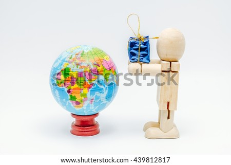 Earth on wooden dummy - stock photo
