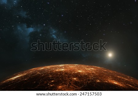 Earth or any other inhabited planet showing city lights at night - stock photo