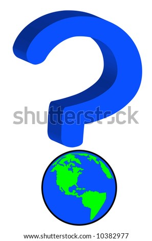 earth or globe as part of question mark - global uncertainty - stock photo