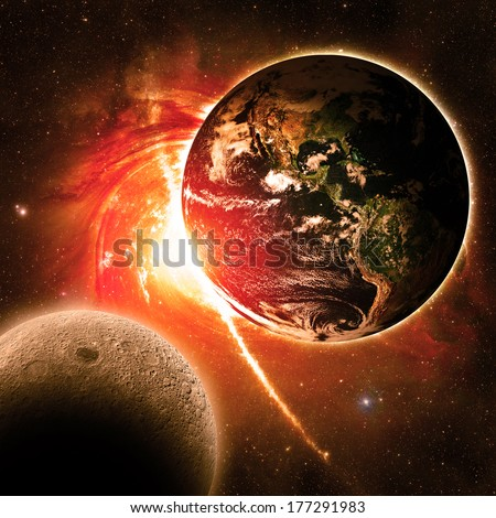 Earth Over a Red Galaxy - Elements of this image furnished by NASA - stock photo