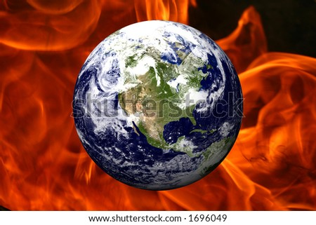 EARTH OVER FIRE - USA - stock photo