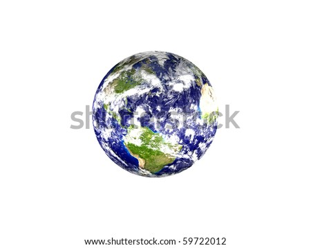 Earth planet - America, isolated on white background - stock photo