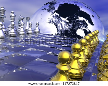 Earth planet behind a chess board, game not strarted yet, in blue background - stock photo