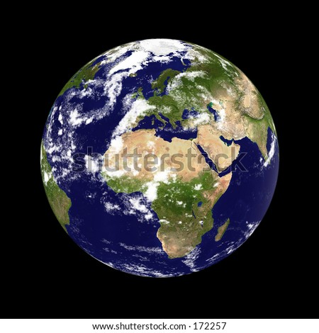 Earth planet. Europe & Africa in the center, clouded. Globe is accurate, like in reality. - stock photo
