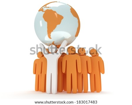 Earth planet globe and group of people with teamleader on white. 3D render. America view. Praise, teamwork, eco, business, global concept. - stock photo