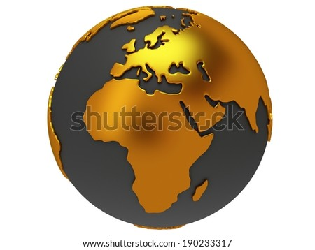 Earth planet globe. 3D render. Africa view. On white background. - stock photo
