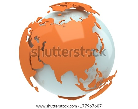 Earth planet globe. 3D render. Russia view. On white background. - stock photo