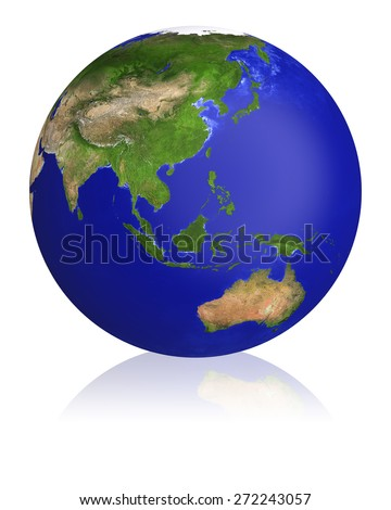 Earth planet globe map. Side of the Asia and Australia. The Earth texture of this image furnished by NASA.  - stock photo