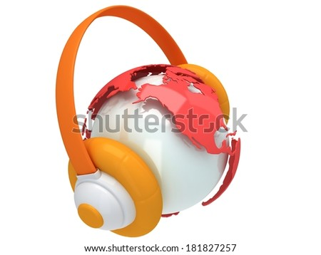 Earth planet globe with headphone. 3D render. America view. On white background. Music, call center, phone, hands free concept. - stock photo
