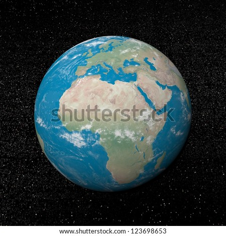 Earth planet showing african continent in the universe surrounded with plenty of stars - Elements of this image furnished by NASA - stock photo