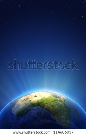 Earth Radiant Light Series - Africa (Elements of this image furnished by NASA- earthmap  http://visibleearth.nasa.gov) - stock photo